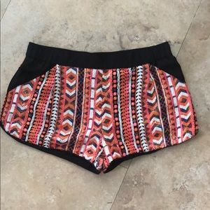Ark & Co sequin tribal print shorts